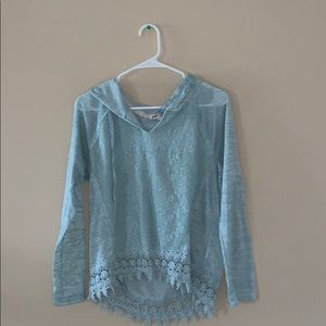 Light blue lacy front hoodie
